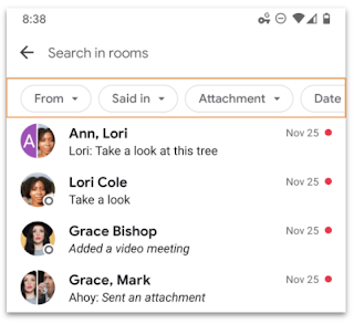 google chat filter